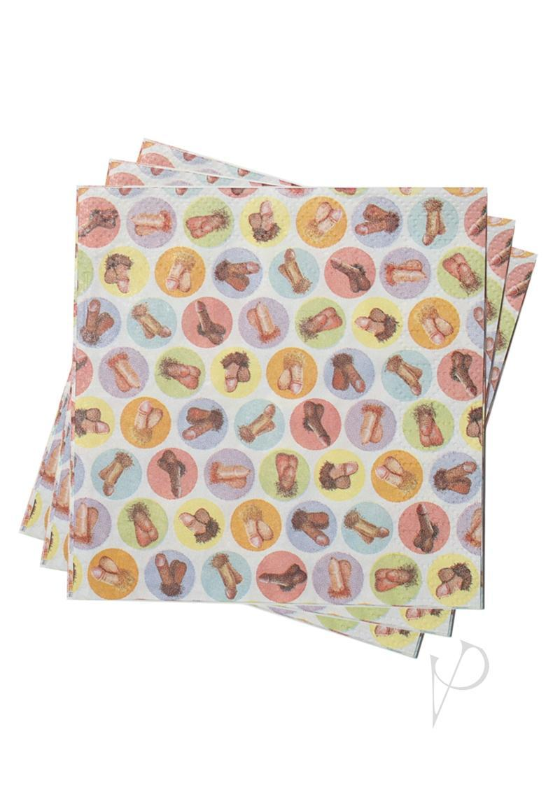 Candy Prints Dirty Napkins Mini Penis Style 9.8 X 9.8 Inches 8 Each Per Pack